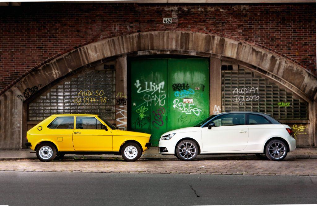 70. gadu sākumā mazie auto bija patiešām nelieli – Audi 50 sasniedza 3,54 metrus. A1 ir izaudzis līdz 3,95 m.