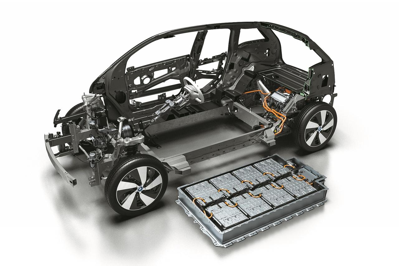 Zem grīdas novietots akumulatoru modulis un BMW i Wallbox stacija, kas i3 uzlādi 200 km distancei veic 3 stundās un 30 minūtēs.