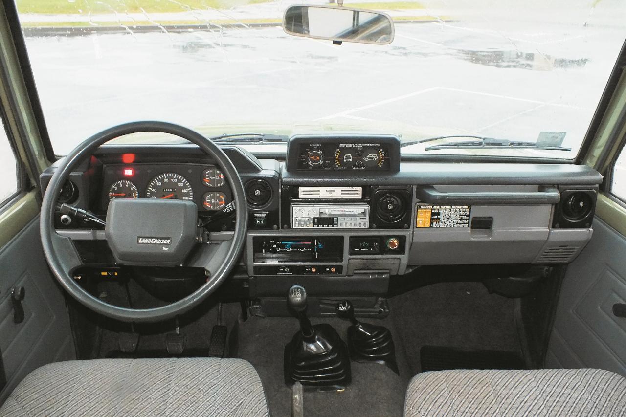 No retro auto skatpunkta raugoties – moderns instrumentu panelis, kas aprīkots ar dažādām palīgierīcēm