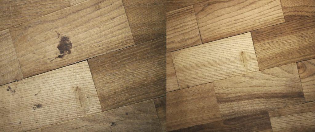 Koka grīda pirms un pēc mitro salvešu lietošanas