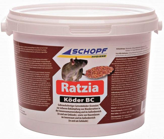 Žurku inde– pārslas Ratzia Baits BC, 1000g. Ēsma, līdzīga graudu pārslām, kas satur asins sarecēšanas inhibitoru (aizkavētāju). Piemērota lietošanai pagrabos, mājas bēniņos. Ēsma pievilina grauzējus, satur rūgtu vielu, lai izvairītos, ka to nejauši apēd mājdzīvnieks.