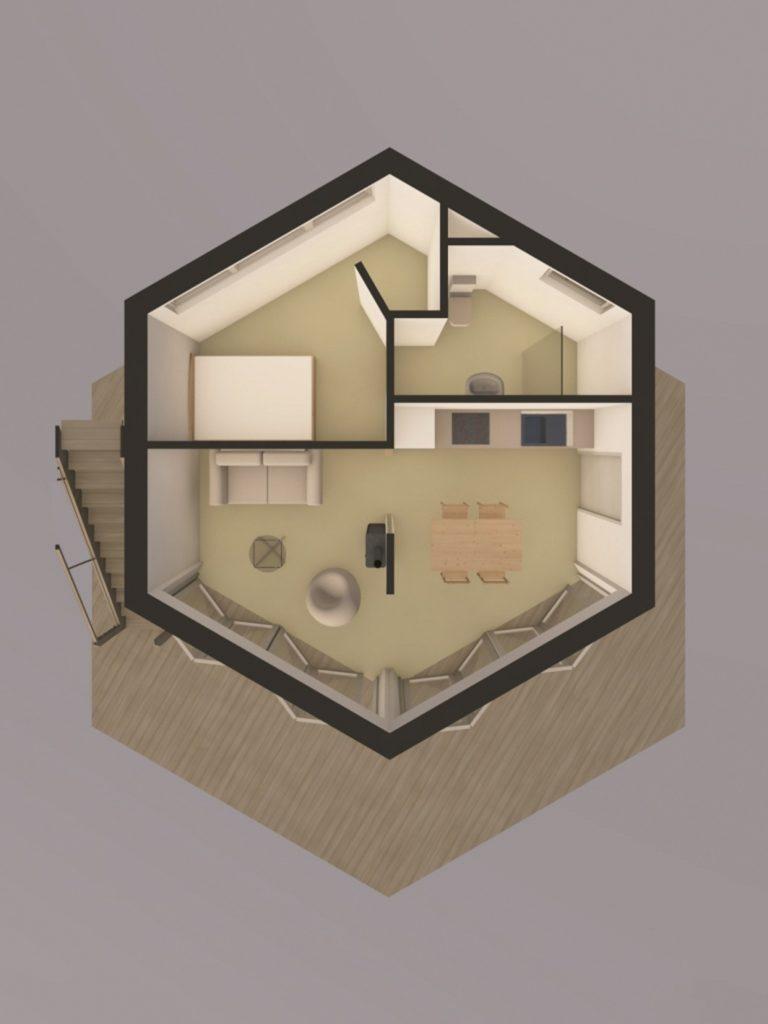 Visskaidrāko priekšstatu par namiņu var gūt plānā. Tiesa, Enriko un Annas mājā nav vienas iekšējās sienas– tās, kas plānā redzama aiz dīvāna.