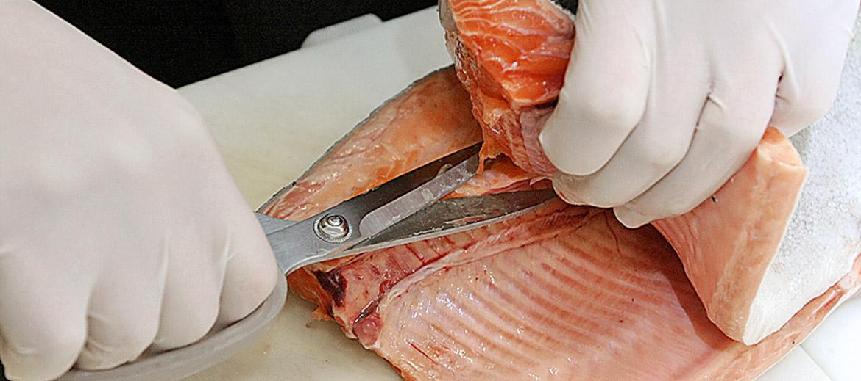 . Tad gareniski griež zivi uz pusēm, virzot nazi gar muguras asaku. Fileju atdala, pārgriežot lielo asaku ar nazi vai šķērēm. Ar plāno nazi nogriež sāniskās asakas, pēc iespējas mazāk atstājot pie asakām filejas gaļu.