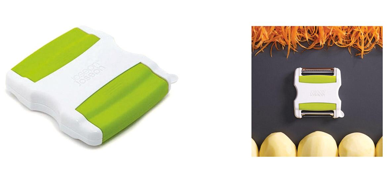 No vienas puses šis ir kartupeļu un citu dārzeņu mizotājs, bet no otras puses – dekoratīvs griezējs. Abos galos asmeņi pēc vajadzības var tikt noslēpti izvelkamos vāciņos, lai brīvais gals var ērti iegulties plaukstā. Mizotājam ir arī speciāls asmenītis bojājumu un kartupeļu acu izņemšanai.