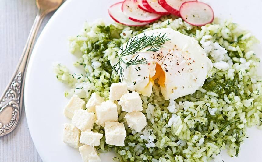 Skābeņu rīsi  ar olu un fetu recepte