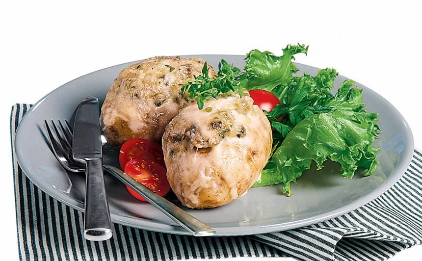 Ar spinātiem pildīti kartupeļi recepte