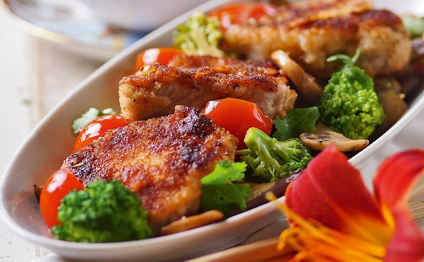 Šniceles ar dārzeņiem receptes