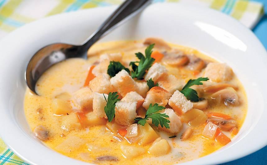 Siera zupa ar sēnēm un kartupeļiem recepte