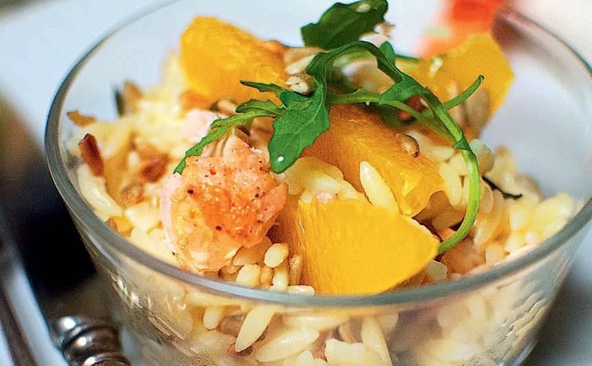 Makaronu salāti ar lasi un apelsīniem recepte