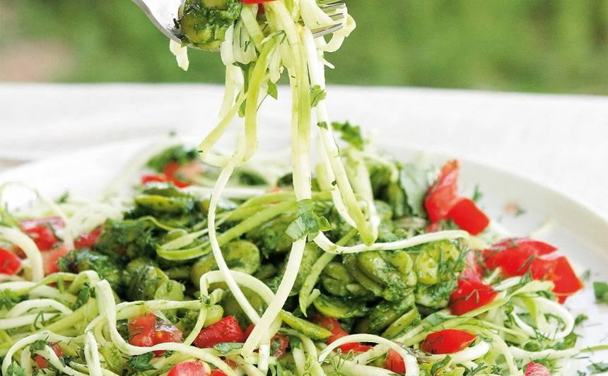 Kabaču spageti ar cūku pupām recepte