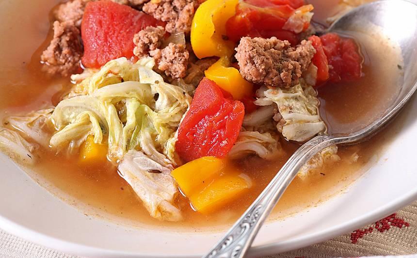 Kāpostu zupa ar malto gaļu, papriku un āboliem recepte