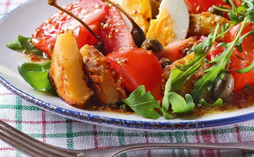 Tomātu salāti ar kartupeļiem un rukolu recepte