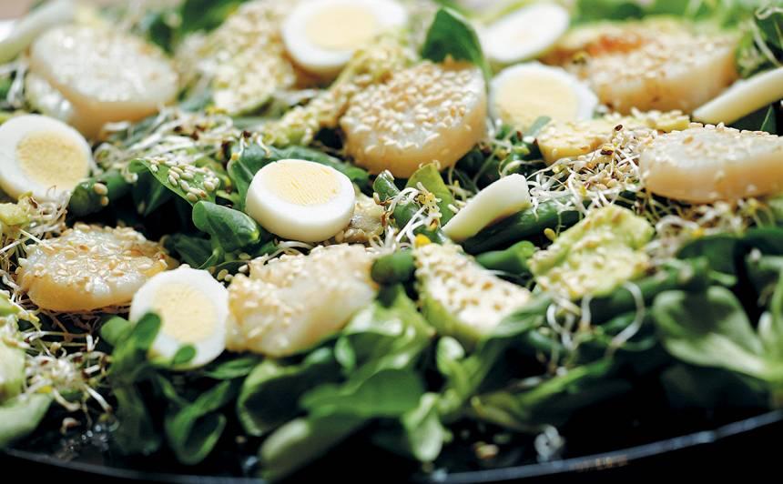 Jūras ķemmīšu salāti ar lucernas dīgstiem recepte