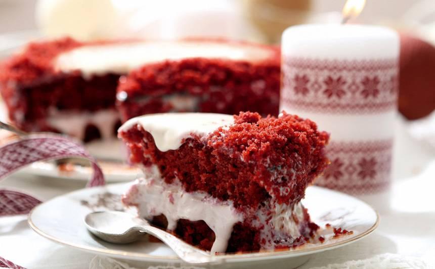 Sarkanbaltsarkanā kūka recepte