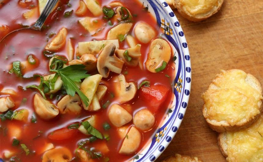 Sēņu, gurķu zupa ar tomātu sulu recepte