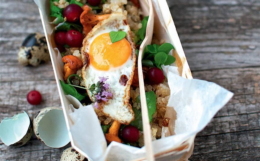 Kvinojas un sēņu salāti