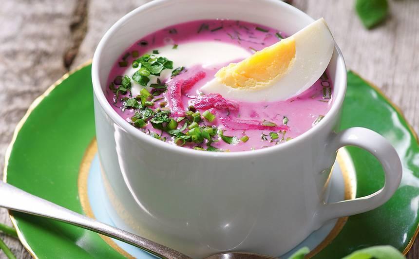 Aukstā biešu zupa ar kefīru recepte