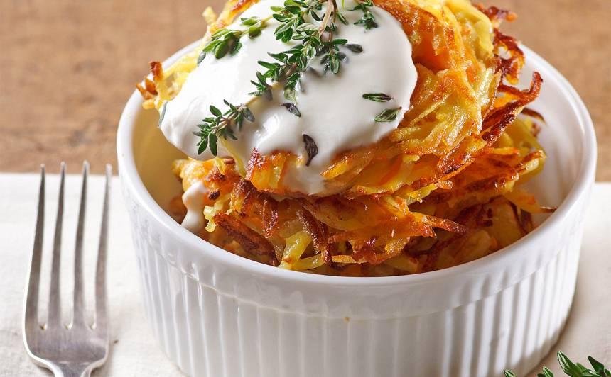 Ķirbja un kartupeļu plācenīši ar krējumu recepte