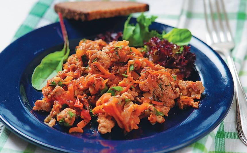 Maltā gaļa ar dārzeņiem recepte