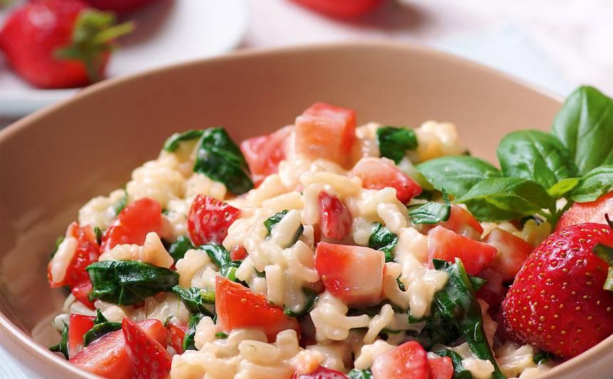 Risoto ar spinātiem un zemenēm recepte