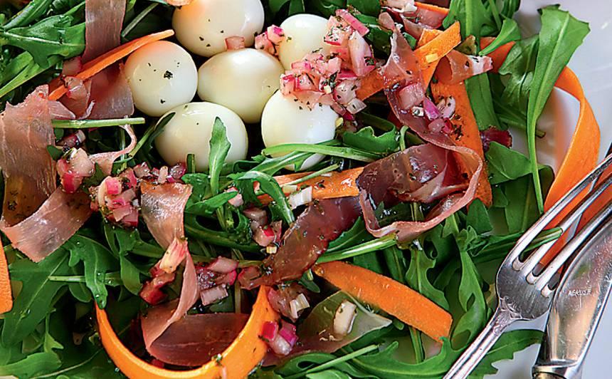 Salāti ar šķiņķi un rukolu recepte