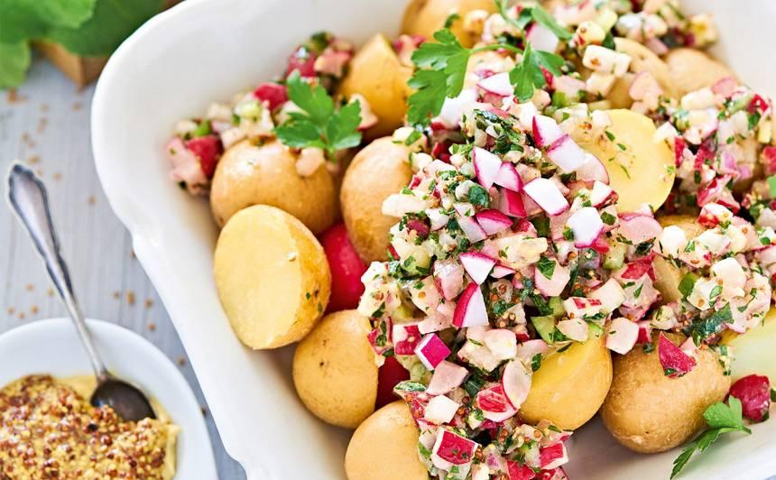 Redīsu mērce  ar kartupeļiem recepte