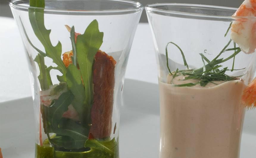 Garneļu, rukolas kokteiļsalāti ar pesto recepte