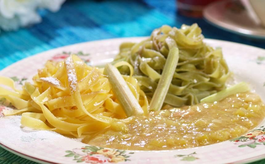 Saldie olu makaroni ar rabarberu mērci recepte