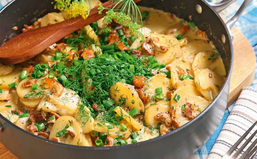 Gailenes ar jaunajiem kartupeļiem aromātiskā mērcē recepte