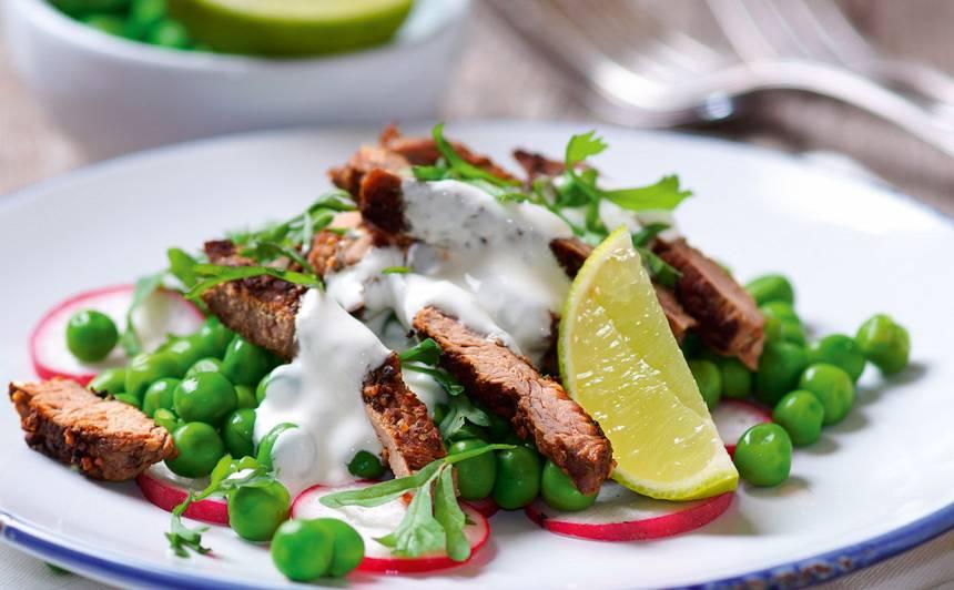 Zirnīšu un liellopa filejas salāti receptes tievētājiem