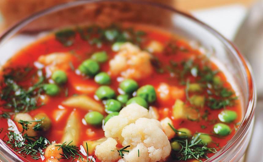 Aukstā tomātu zupa ar ziedkāpostu