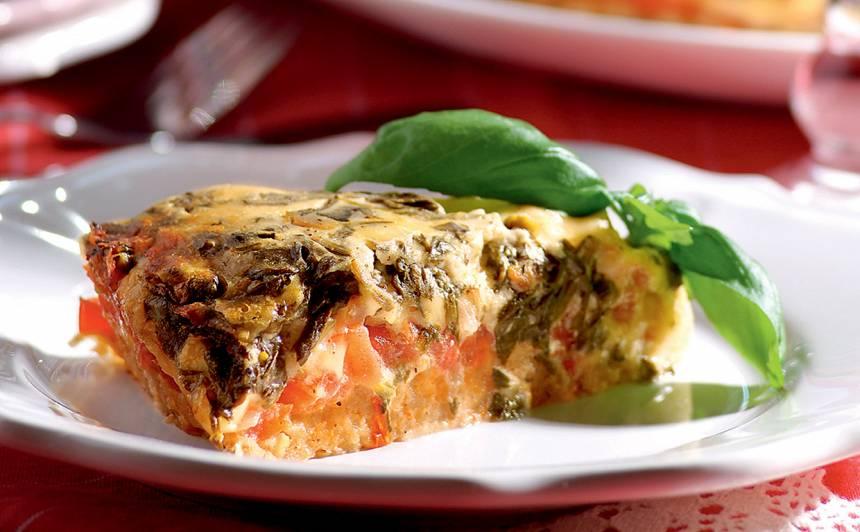 Spinātu un tomātu pīrāgs recepte