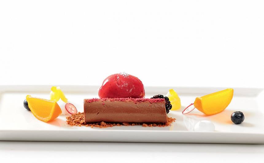 Piparkūku deserts ar mandarīnu un sorbertu recepte