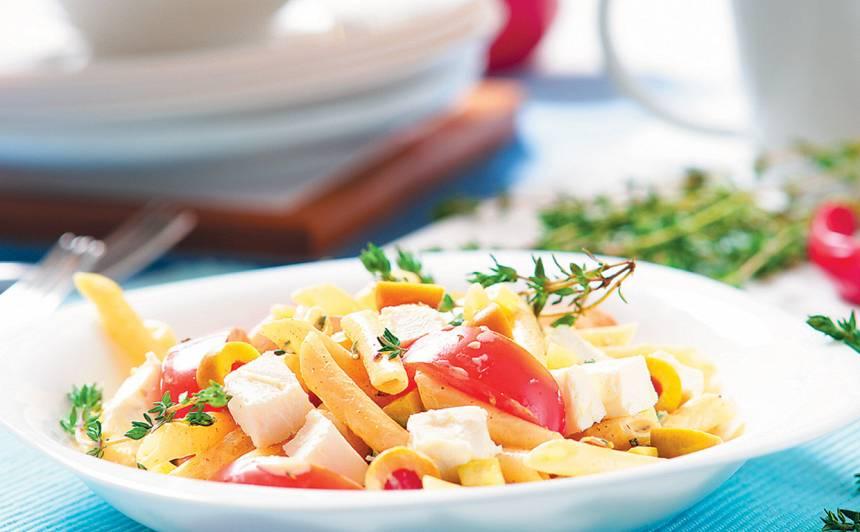 Makaronu salāti ar fetu recepte
