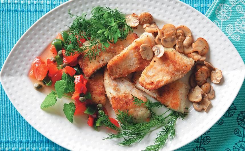 Zandarts ar sēnēm un dārzeņiem recepte