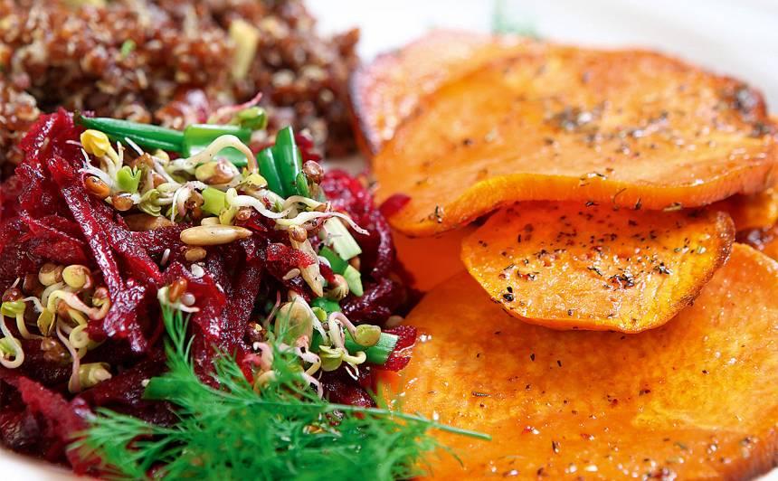 Kvinojas salāti ar batātēm un bietēm recepte