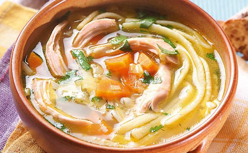 Vistas zupa ar puraviem un olu nūdelēm recepte