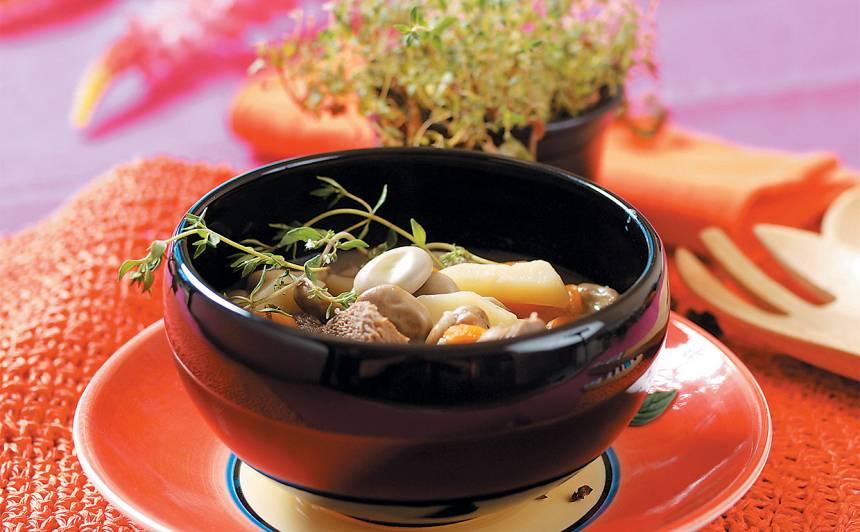 Zupa ar liellopa gaļu un cūku pupām recepte