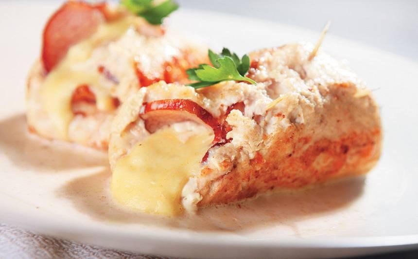 Vistas fileja, pildīta ar sieru un šķiņķi recepte