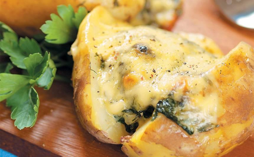 Kartupeļi ar spinātu pildījumu recepte