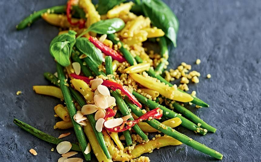 Sviesta un pākšu pupiņas ar kvinoju indiešu gaumē recepte