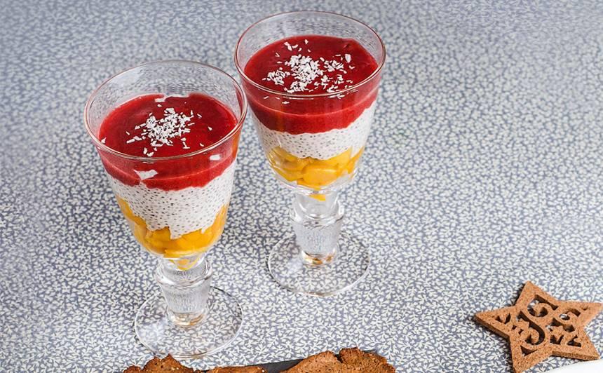 Kārtainais čia, mango un zemeņu deserts recepte