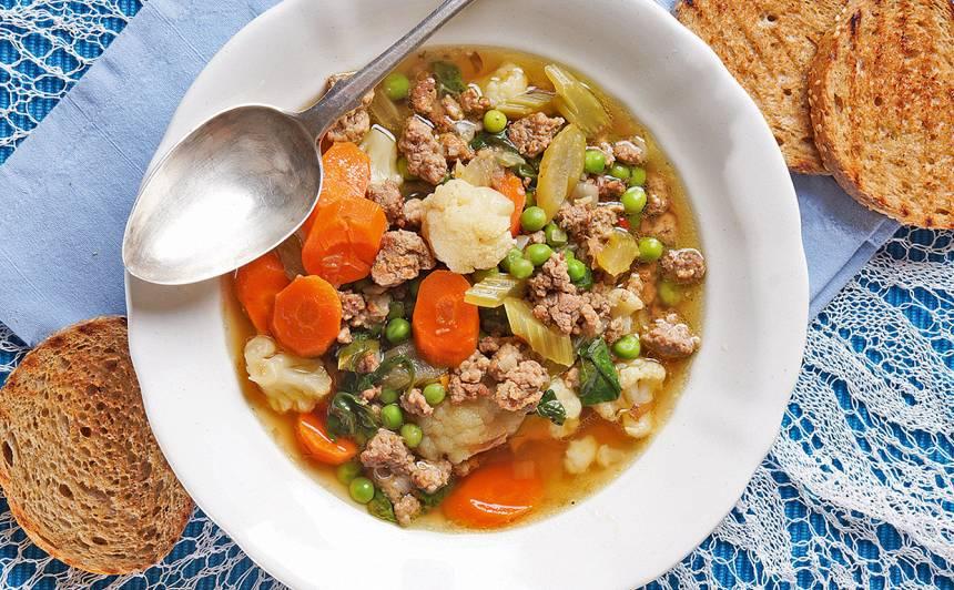 Ātrā zupa ar malto gaļu un dārzeņiem