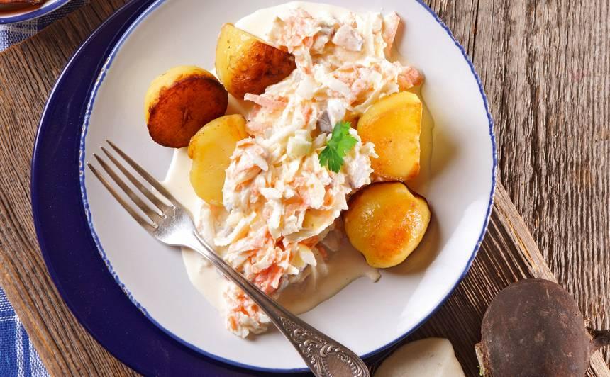 Rutku salāti ar siļķi un puraviem recepte