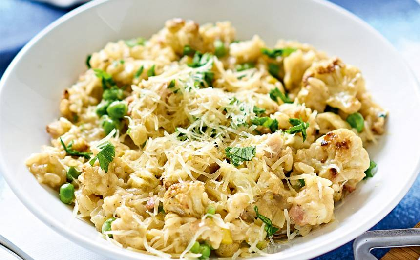 Cepta ziedkāposta un zilā siera risoto recepte