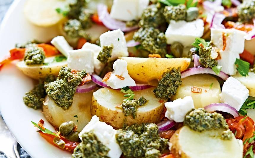 Kartupeļu salāti ar vītinātu šķiņķi recepte