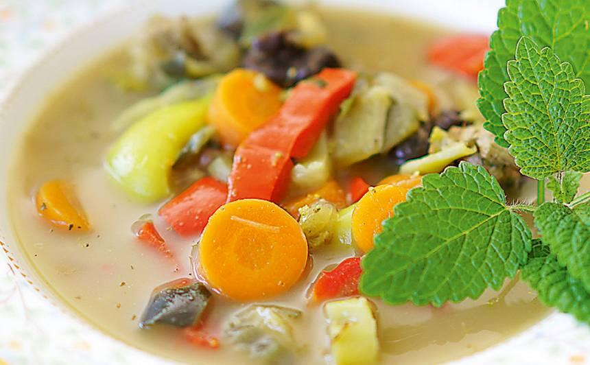 Baklažānu, vistas zupa ar kokospienu recepte