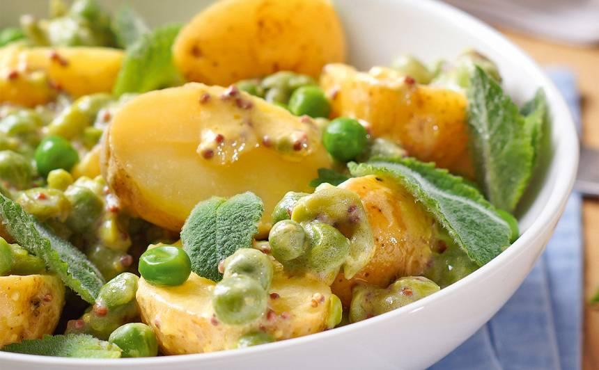 Kartupeļu salāti ar zirnīšiem un piparmētru recepte