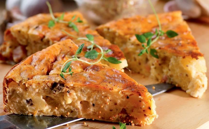 Kartupeļu kūka ar timiānu un šķiņķi