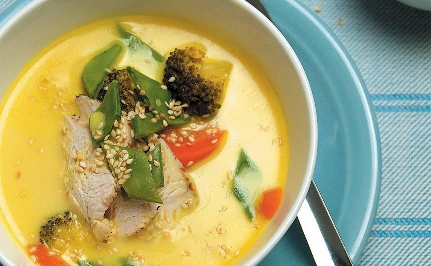 Vistas un kokosriekstu piena zupa ar laimu recepte